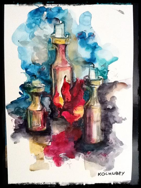 Watercolor on paper by Veronika Kochubey