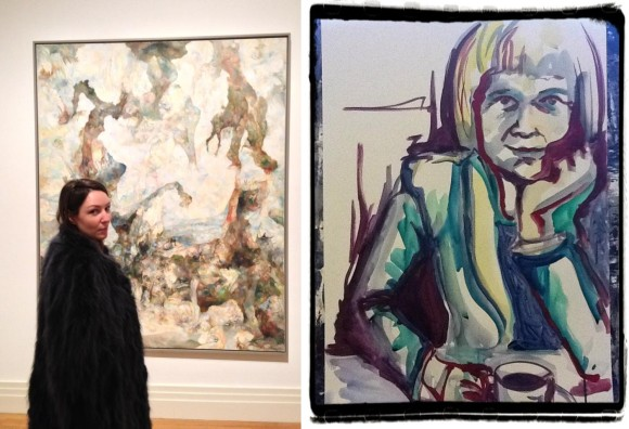 Links: Künterlin Veronika bei einem ihrer Sonntagsbesuche im Martin-Gropius-Bau Berlin, Rechts: watercolored mama by Veronika Kochubey